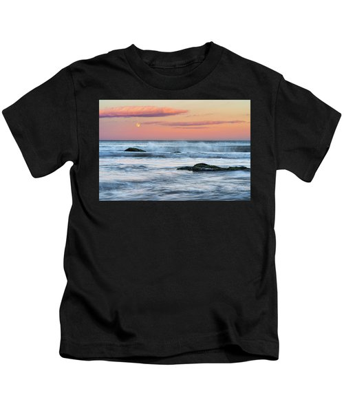 Super Moon And Sunset At Sozopol Town Beach Kids T-Shirt