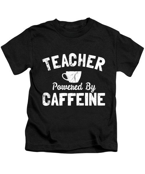 Teacher Powered By Caffeine Funny Coffee Kids T-Shirt