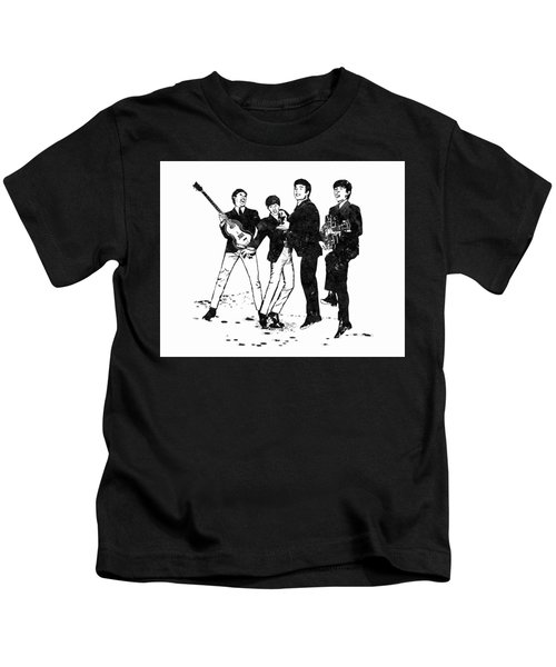 The Beatles Black And White Watercolor 02 Kids T-Shirt