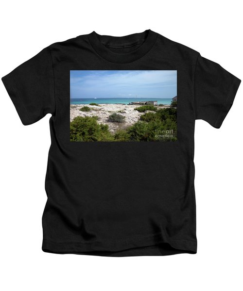 The Boathouse On A Rocky Shore Kids T-Shirt