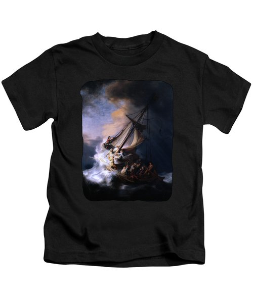 The Storm On The Sea Of Galilee By Rembrandt Van Rijn Kids T-Shirt