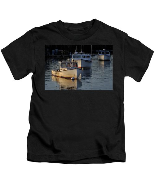 Three Boats In Maine Kids T-Shirt