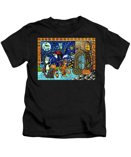 Trick Or Treat Halloween Cats Kids T-Shirt