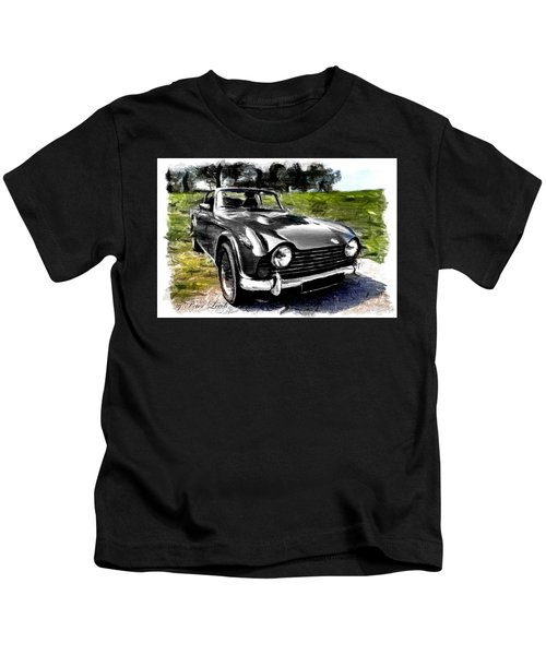 Triumph Tr5 Monochrome With Brushstrokes Kids T-Shirt
