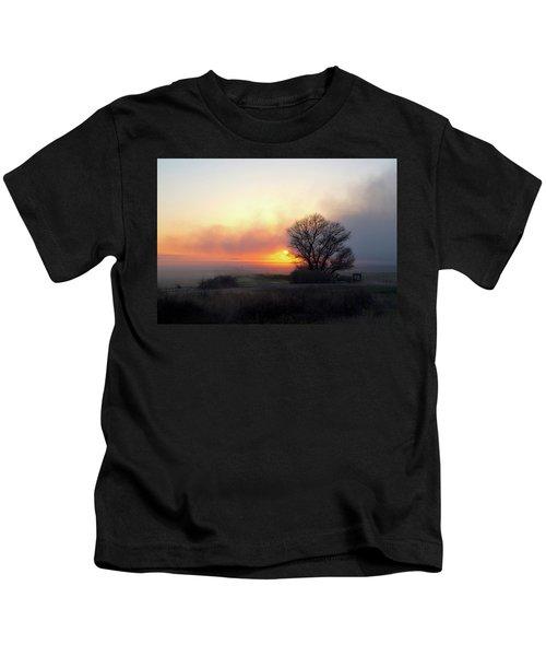 Tule Fog Sunrise  Kids T-Shirt