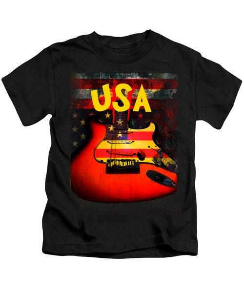 Usa Flag Guitar Purple Stars And Bars Kids T-Shirt