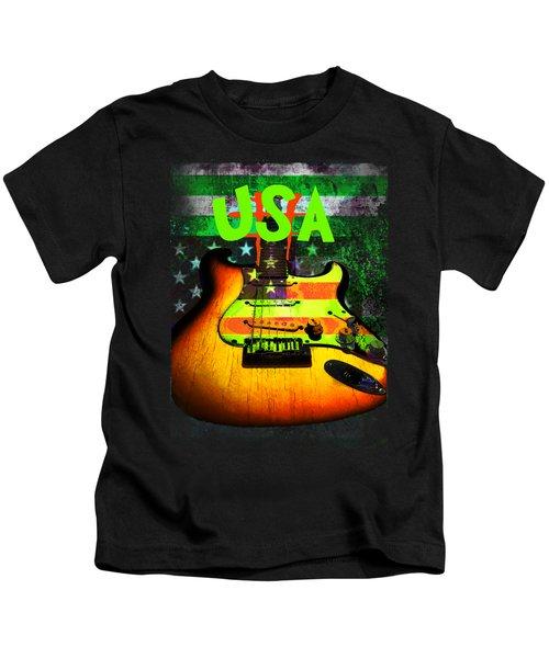 Usa Strat Guitar Music Green Theme Kids T-Shirt