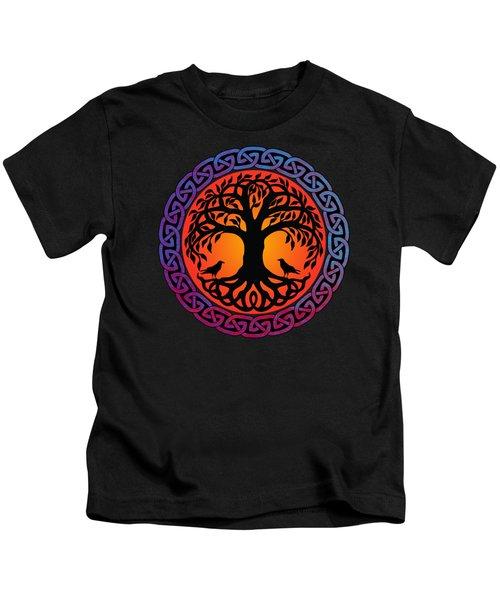 Viking Yggdrasil World Tree With Ravens Huginn Muninn Kids T-Shirt