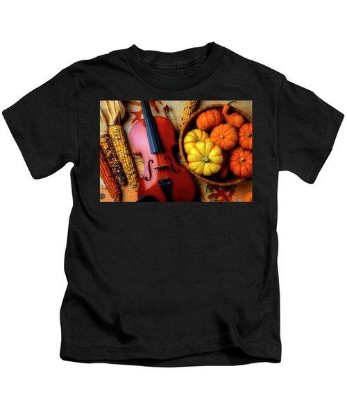 Violin And Autumn Pumpkins Kids T-Shirt