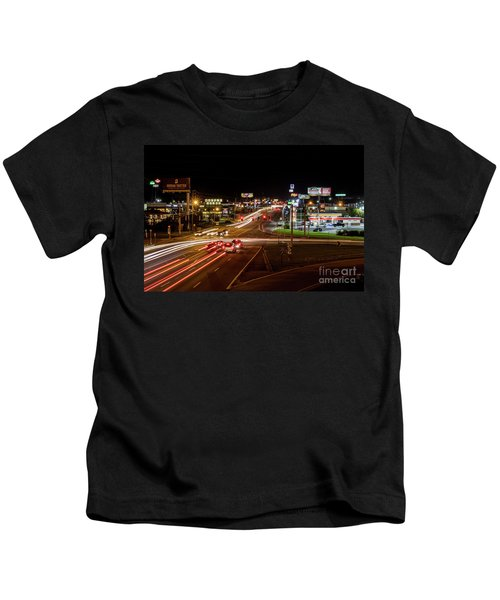 Washington Road At Night - Augusta Ga Kids T-Shirt