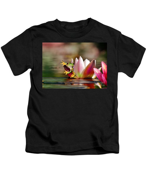 Water Lily And Frog Kids T-Shirt