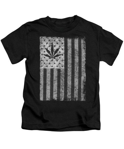 Weed Leaf American Flag Us Kids T-Shirt