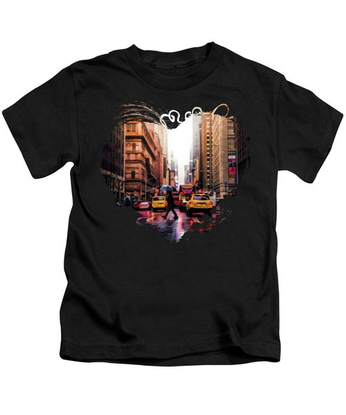 Wet Streets Of New York City Kids T-Shirt