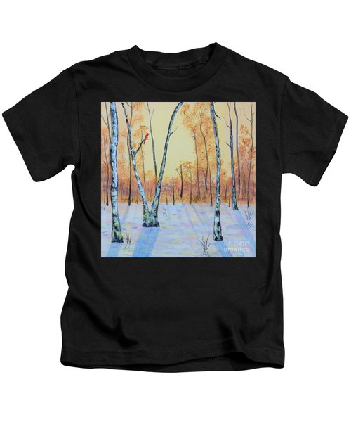 Winter Birches-cardinal Left Kids T-Shirt