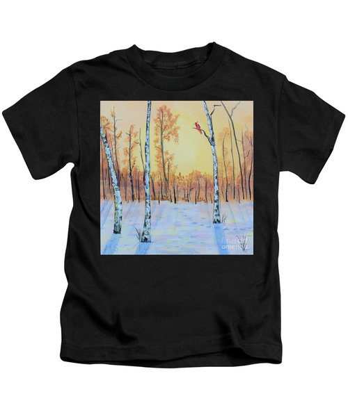 Winter Birches-cardinal Right Kids T-Shirt