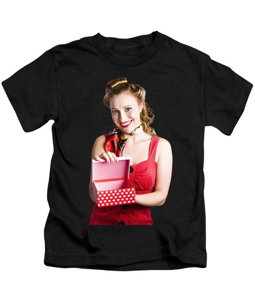 Woman Holding Gift Box Kids T-Shirt