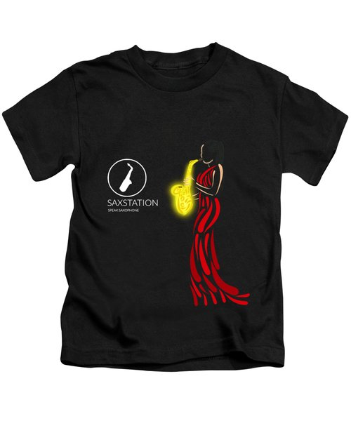 Woman In Red Playing Sax Kids T-Shirt