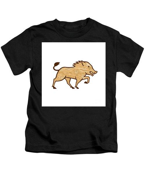 Wood Boar Marching Side Retro Kids T-Shirt