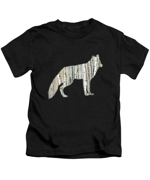 Woods Forest Lodge Wolf With Aspen Trees Kids T-Shirt