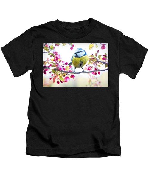 Yellow Blue Bird With Flowers Kids T-Shirt