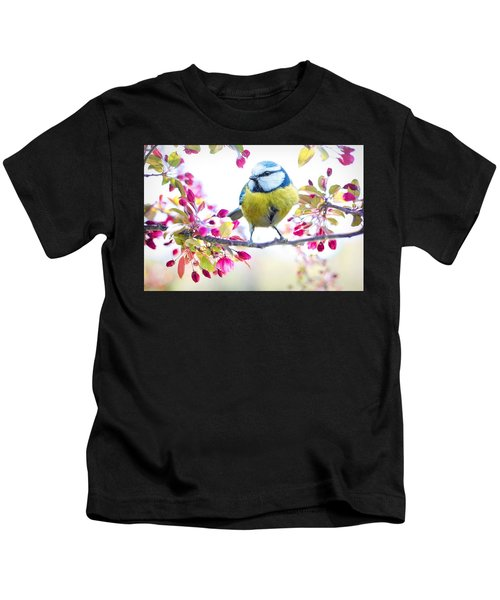Yellow Blue Bird With Flowers Kids T-Shirt