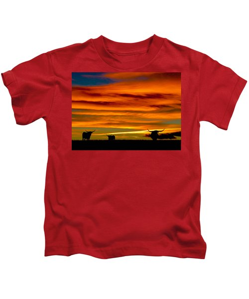 Longhorn Sunset Kids T-Shirt