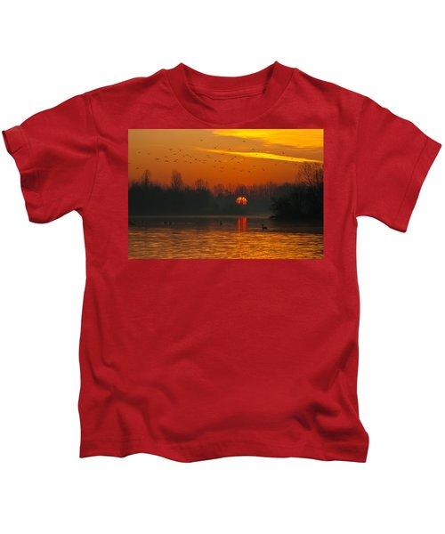 Morning Over River Kids T-Shirt