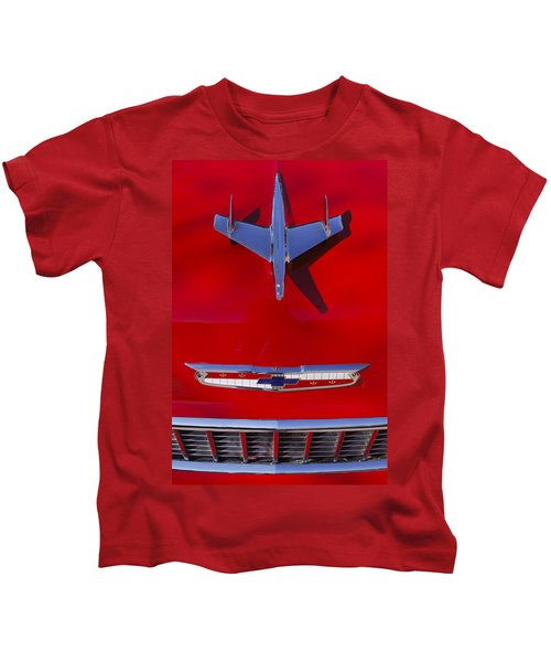 Kids T-Shirt featuring the photograph 1955 Chevrolet Belair Nomad Hood Ornament by Jill Reger