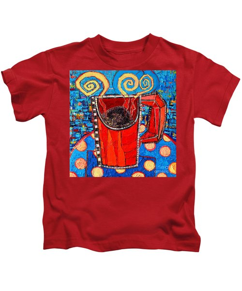 Abstract Hot Coffee In Red Mug Kids T-Shirt