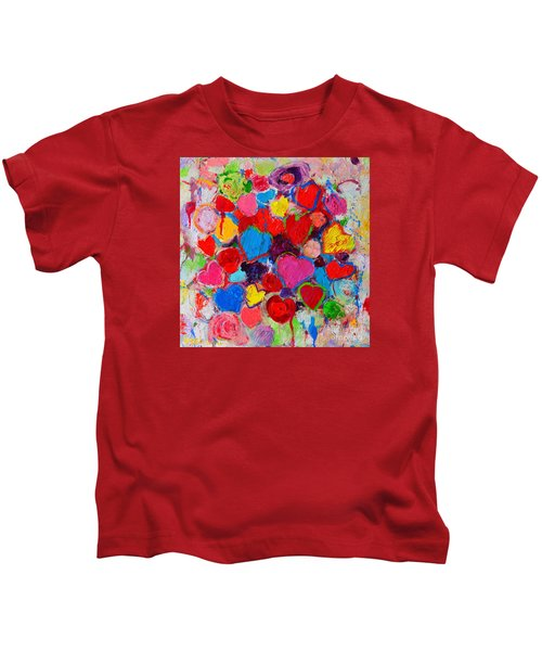 Abstract Love Bouquet Of Colorful Hearts And Flowers Kids T-Shirt