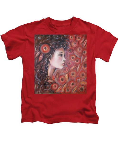 Asian Dream In Red Flowers 010809 Kids T-Shirt
