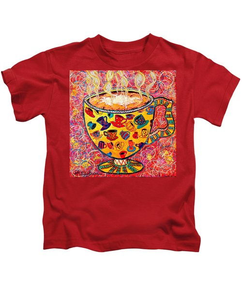 Cafe Latte - Coffee Cup With Colorful Coffee Cups Some Pink And Bubbles  Kids T-Shirt