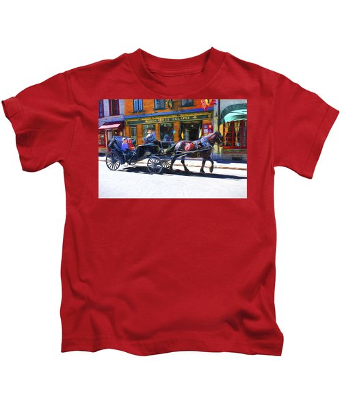 Carriage Rides In Old Quebec 9 Kids T-Shirt