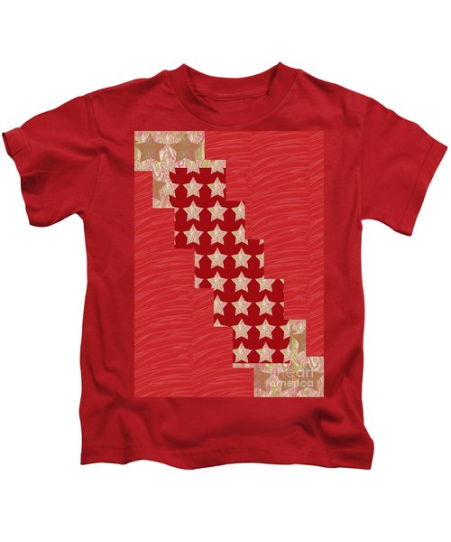 Cross Through Sparkle Stars On Red Silken Base Kids T-Shirt
