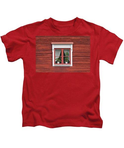 Cute Window On Red Wall Kids T-Shirt