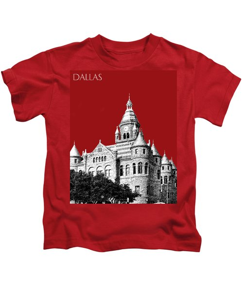 Dallas Skyline Old Red Courthouse - Dark Red Kids T-Shirt