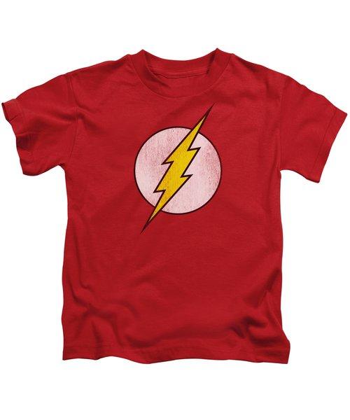 Dc - Flash Logo Distressed Kids T-Shirt