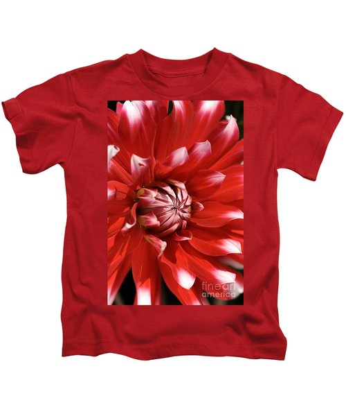 Flower- Dahlia-red-white Kids T-Shirt