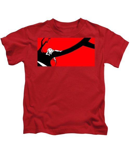 Girl On The Tree Of Time Red Kids T-Shirt
