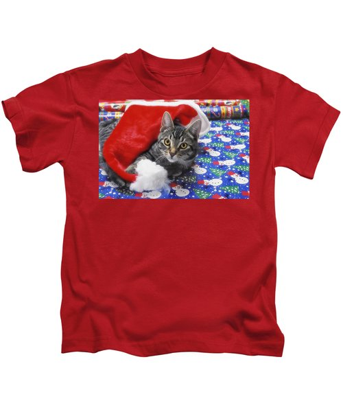 Grey Tabby Cat With Santa Claus Hat Kids T-Shirt
