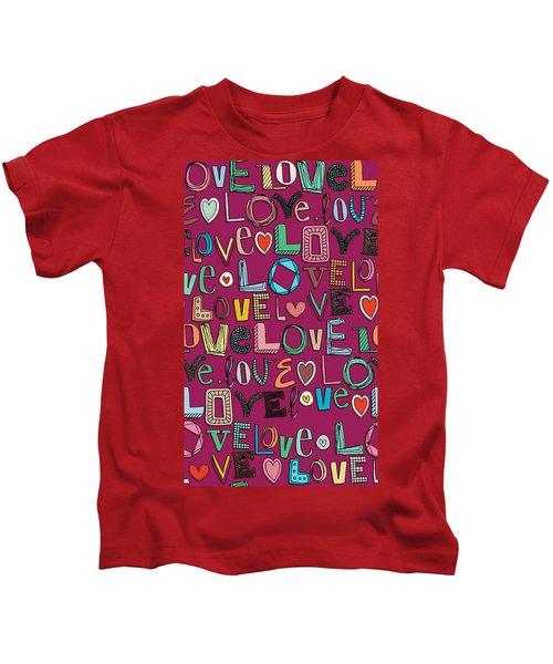 l o v e LOVE pink Kids T-Shirt