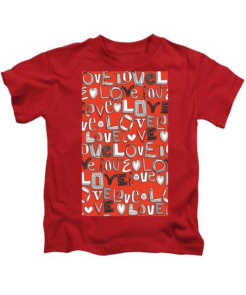 l o v e LOVE red white Kids T-Shirt