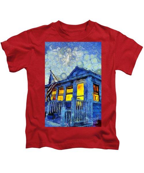 Lazy Daze Beach Cottage On Fourth Of July Kids T-Shirt