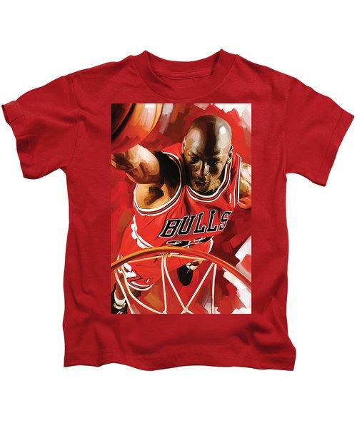 Michael Jordan Artwork 3 Kids T-Shirt by Sheraz A