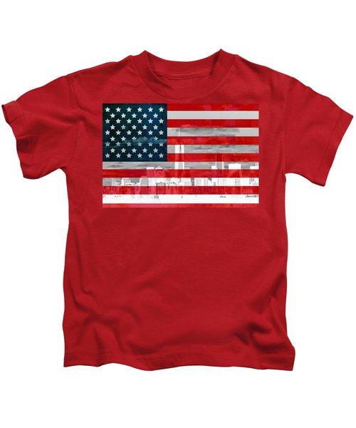 New York City Skyline And American Flag Kids T-Shirt