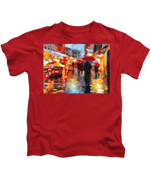 Parisian Rain Walk Abstract Realism Kids T-Shirt