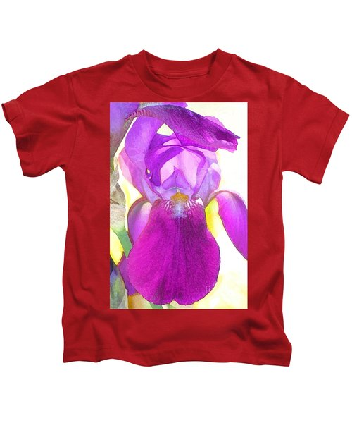 Purple Iris Watercolor Kids T-Shirt