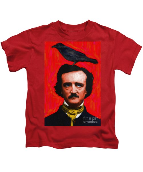 Quoth The Raven Nevermore - Edgar Allan Poe - Painterly - Red - Standard Size Kids T-Shirt
