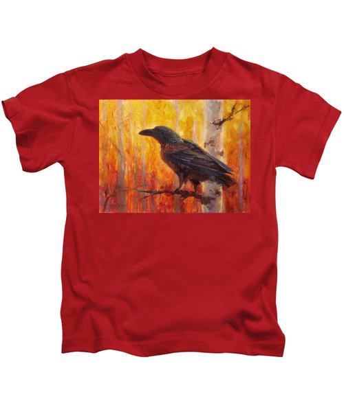 Raven Glow Autumn Forest Of Golden Leaves Kids T-Shirt