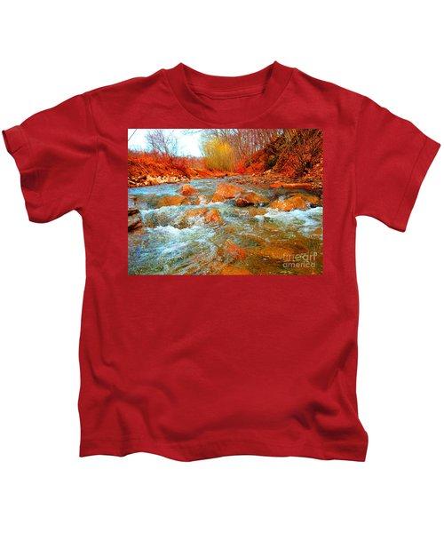 Running Creek 2 By Christopher Shellhammer Kids T-Shirt
